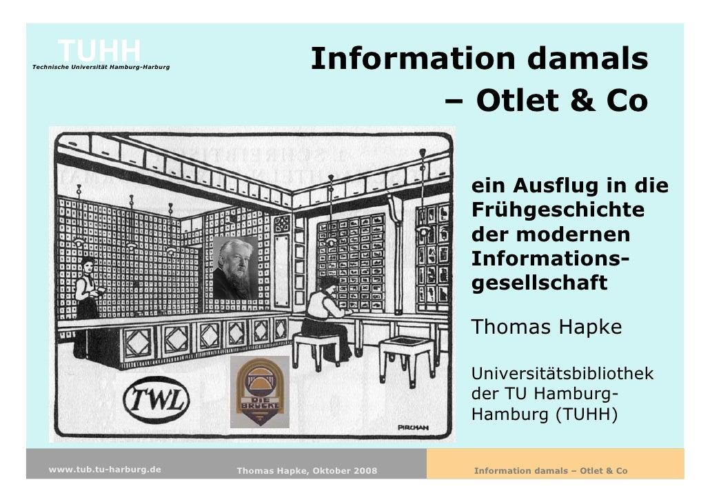 Information damals - Otlet & Co