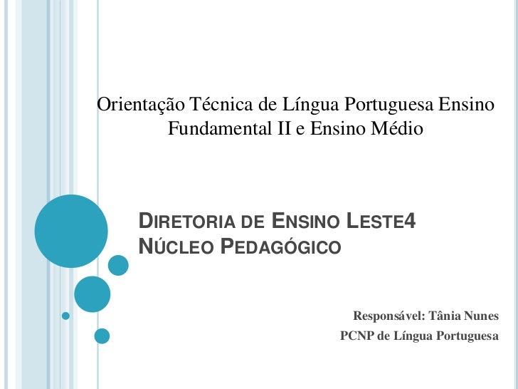 OT Língua Portuguesa - Ensino Fundamental Ciclo II e Ensino Médio