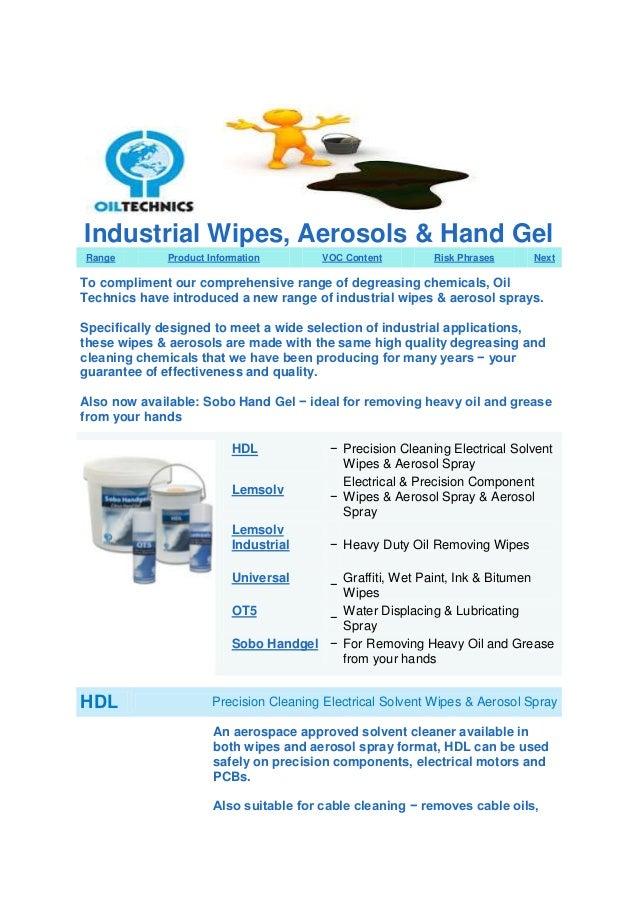 Oil Technics Ltd: Introduce - Wipes, Aerosol and Hand Gel`s.