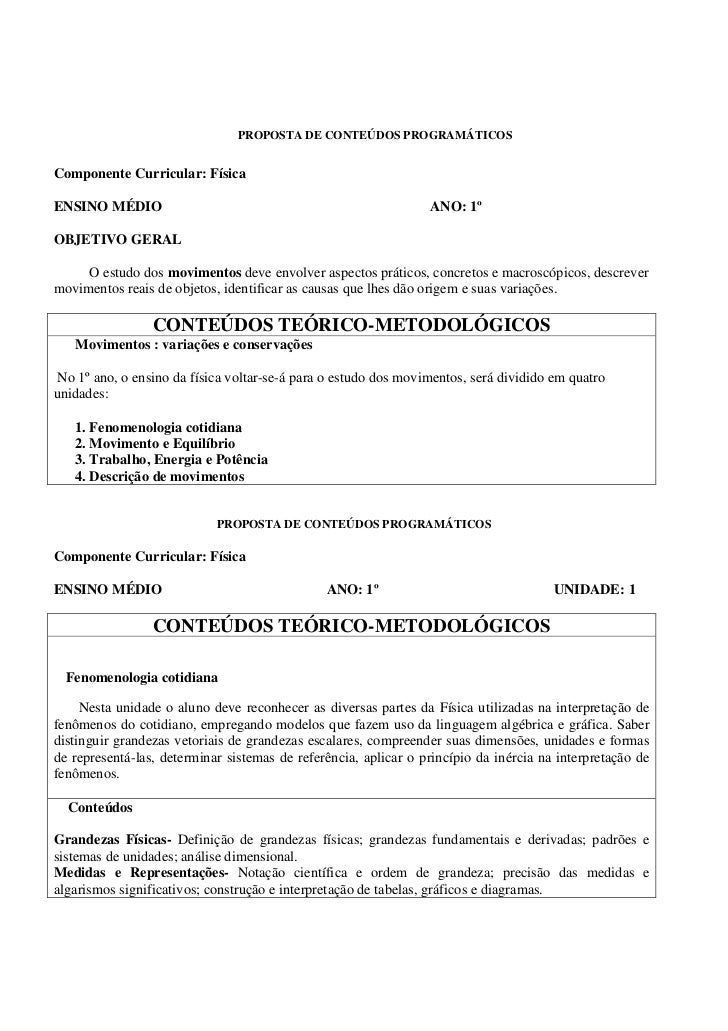 PROPOSTA DE CONTEÚDOS PROGRAMÁTICOS   Componente Curricular: Física  ENSINO MÉDIO                                         ...