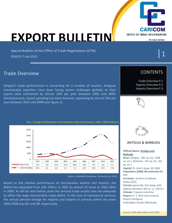 OTN Export Bulletin no7 -  Antigua & Barbuda