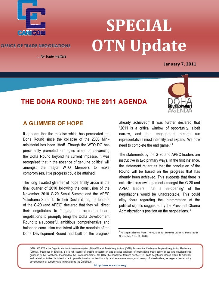 OTN Special Update - (The Doha Round-2011 Agenda ) 2011-01-07