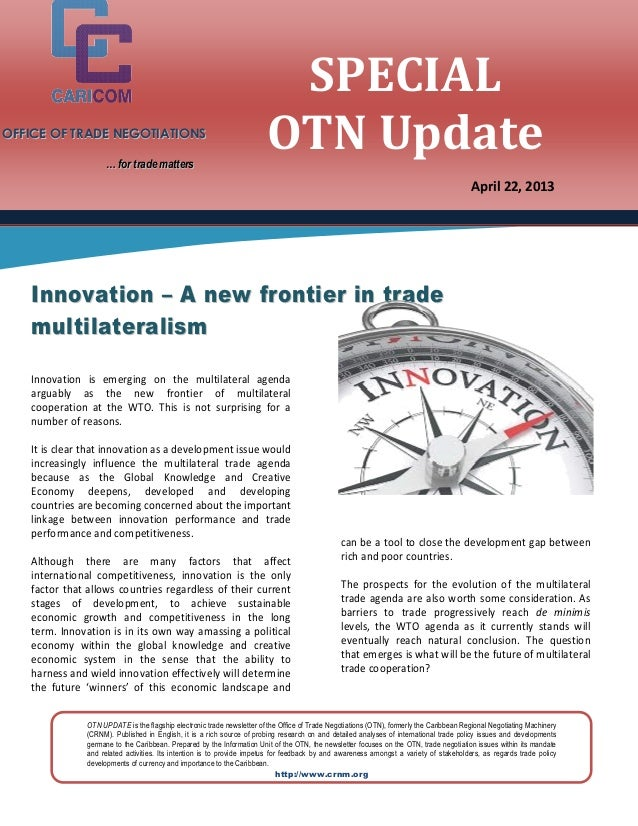 OTN Special Update - Innovation - A New Frontier in Trade Multilateralism [2013-04-25]