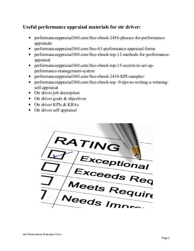 Otr Driver Job Description Otr driver performance appraisal Job Performance Evaluation Form Page 1; 2.
