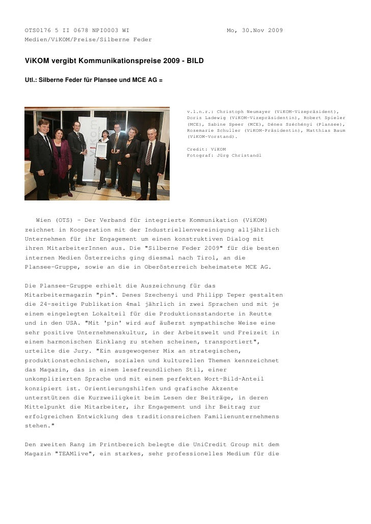 OTS0176 5 II 0678 NPI0003 WI                                 Mo, 30.Nov 2009 Medien/ViKOM/Preise/Silberne Feder   ViKOM ve...