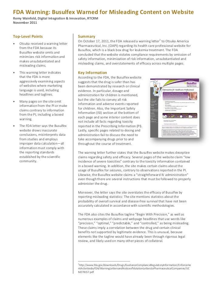 FDA Warning Letters: Otsuka, October 2011