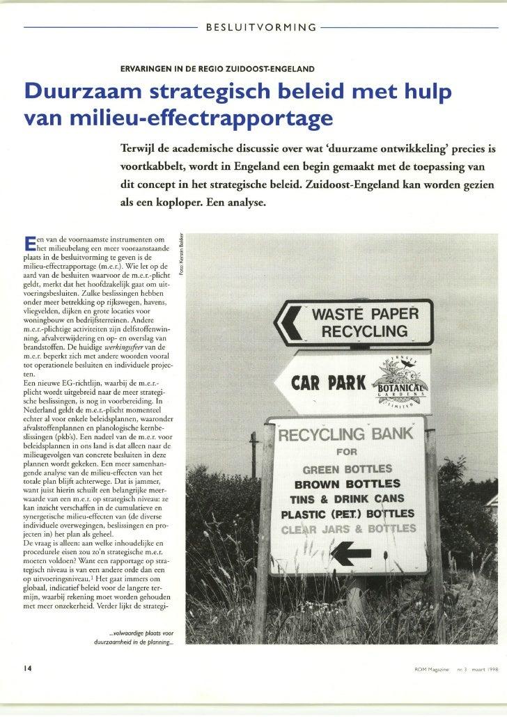 Artikel in ROM Magazine maart 1998 SEA in UK (strategische m.e.r. in Engeland)