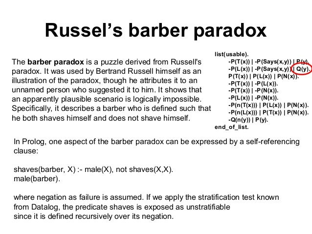 Barber Paradox : russel s barber paradox the barber paradox is a puzzle