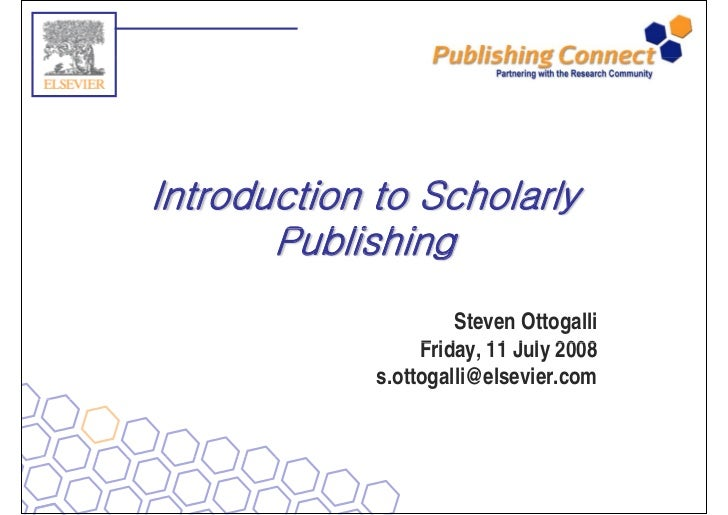 Introduction to scholarly publishing