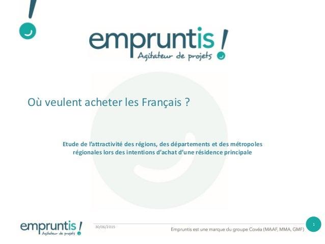 Où veulent acheter les Français ? Etude de l'attractivité des régions, des départements et des métropoles régionales lors ...
