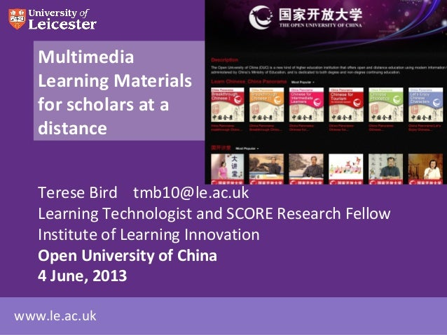 Multimedia learning materials for scholars at a distance