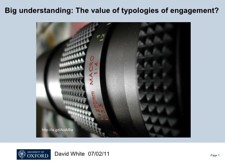 Page  http://is.gd/AoAlBa Big understanding: The value of typologies of engagement? David White  07/02/11
