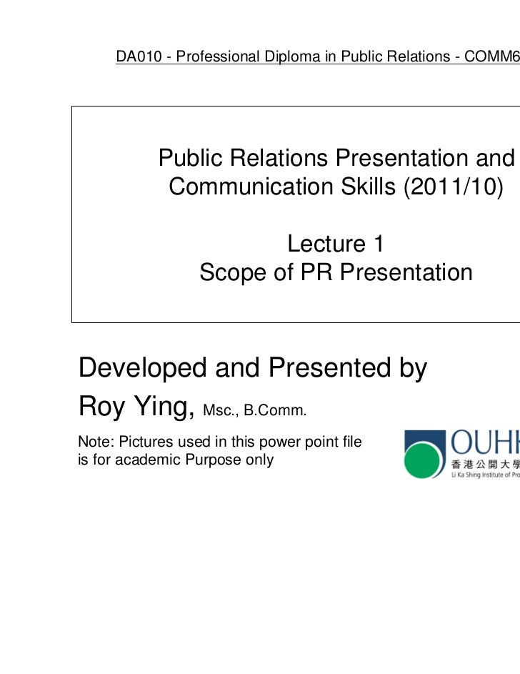 Ouhk comm6005 lecture 1   scope of pr presentation