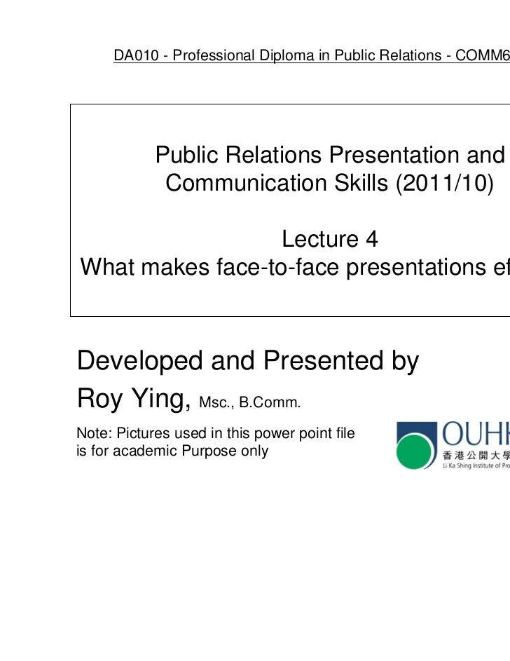 Ouhk comm6005 lecture 4   what makes face-to-face presentations effective