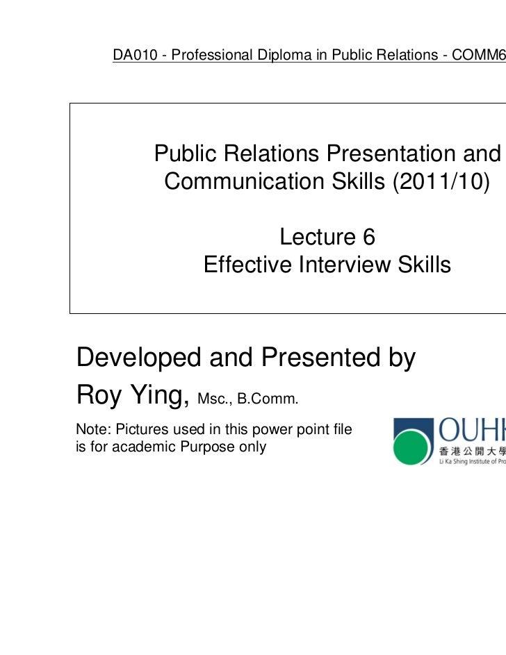 DA010 - Professional Diploma in Public Relations - COMM6005EP            Public Relations Presentation and             Com...