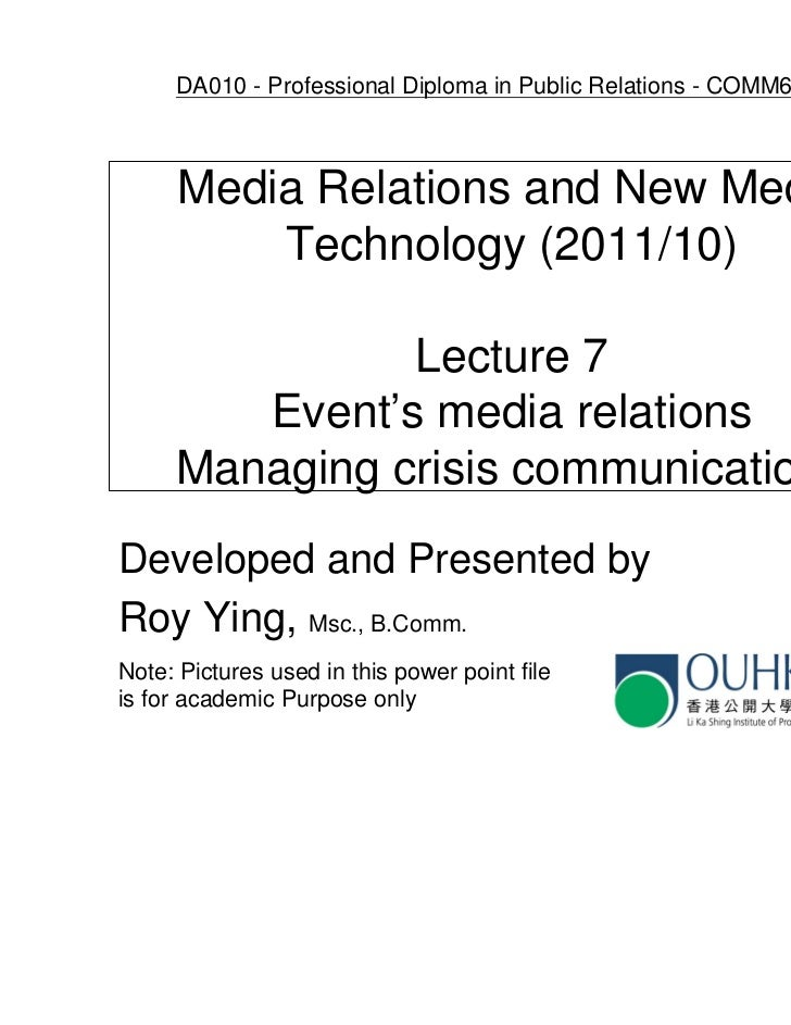 OUHK Comm6024 - lecture 7 media relations in event management and crisis communication