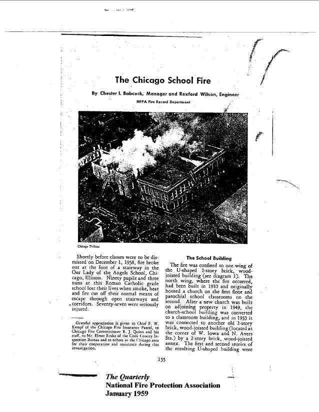f-                        The Chicago School Fire            By Chester I. Babcock, Manager and Rexford Wilson, Engineer  ...