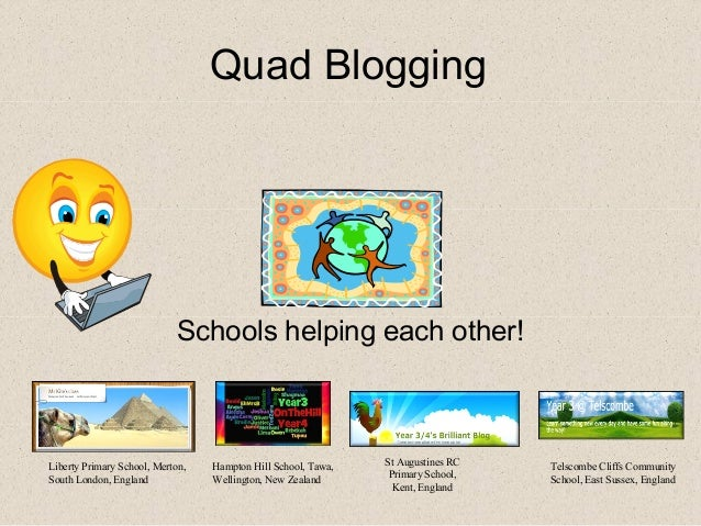 Quad Blogging                             Schools helping each other!Liberty Primary School, Merton,   Hampton Hill School...