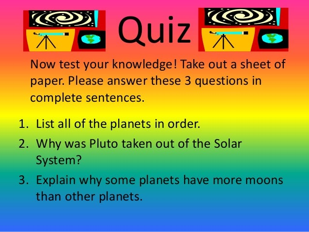 grade solar system questions - photo #25