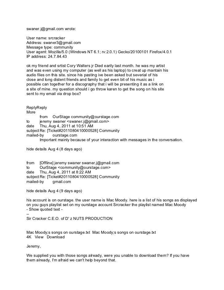 swaner.j@gmail.com wrote:User name: srcrackerAddress: swaner3@gmail.comMessage type: communityUser agent: Mozilla/5.0 (Win...