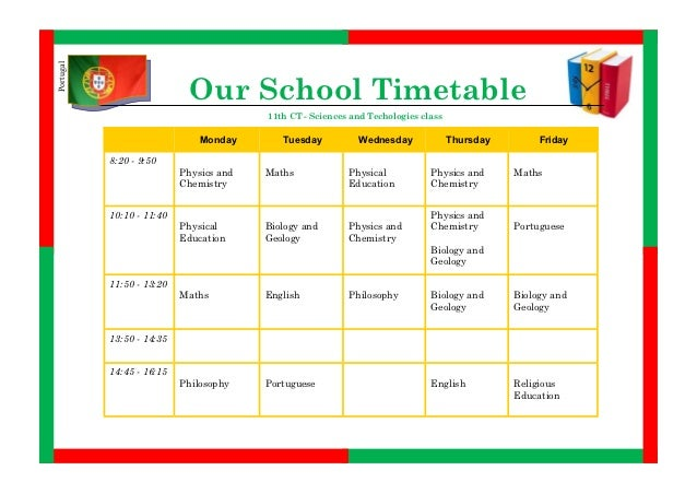 Our weekly school timetable (11CT)