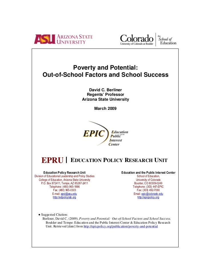 Poverty and Potential:       Out-of-School Factors and School Success                                              David C...