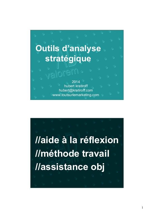 1  Outils d'analyse  stratégique  2014  hubert kratiroff  hubert@kratiroff.com  www.toutsurlemarketing.com  //aide à la ré...