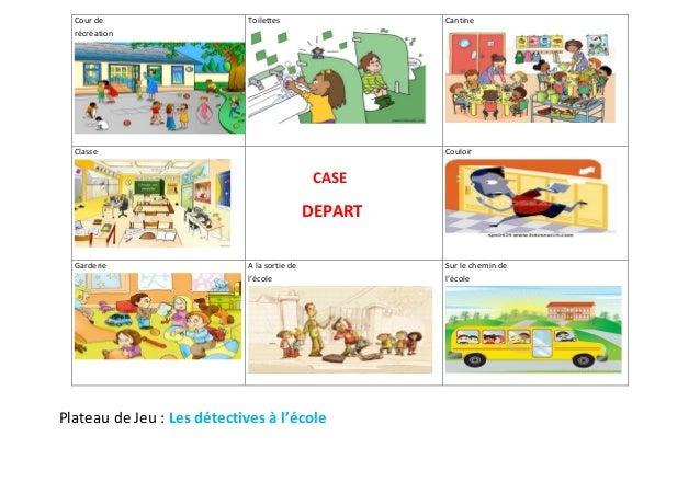 Cour de  récréation  Toilettes  Cantine  Classe  CASE  DEPART  Plateau de Jeu : Les détectives à l'école  Couloir  Garderi...