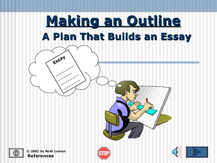 Making an Outline References © 2001 by Ruth Luman A Plan That Builds an Essay Essay -------------------  -----------------...