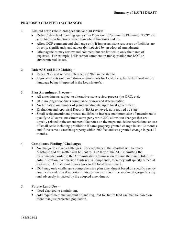 Summary of 1/31/11 DRAFTPROPOSED CHAPTER 163 CHANGES1.    Limited state role in comprehensive plan review –      • Define ...
