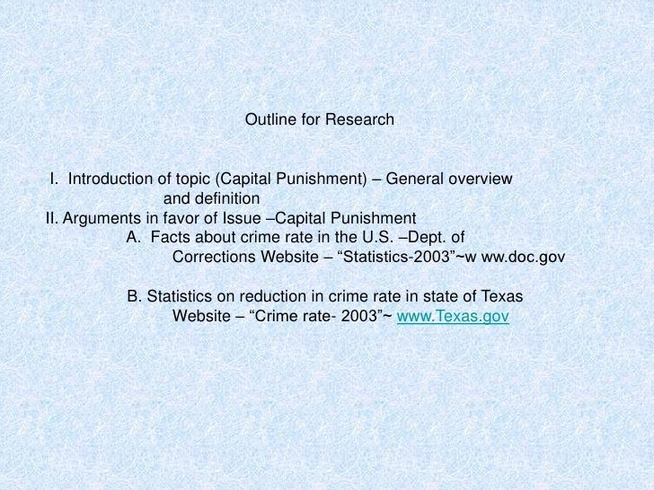 Capital punishment research paper outline