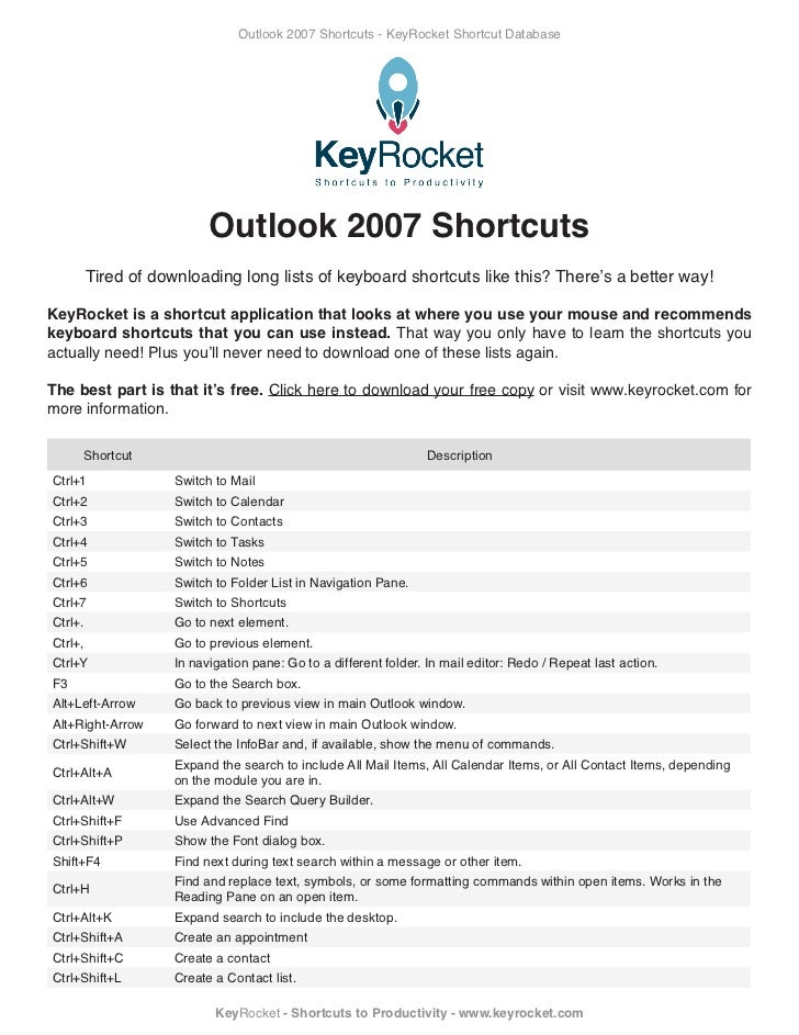 Outlook 2007 shortcuts