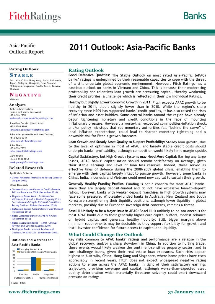 Banks Asia­Pacific Outlook Report                                                   2011 Outlook: Asia‐Pacific Banks Ratin...