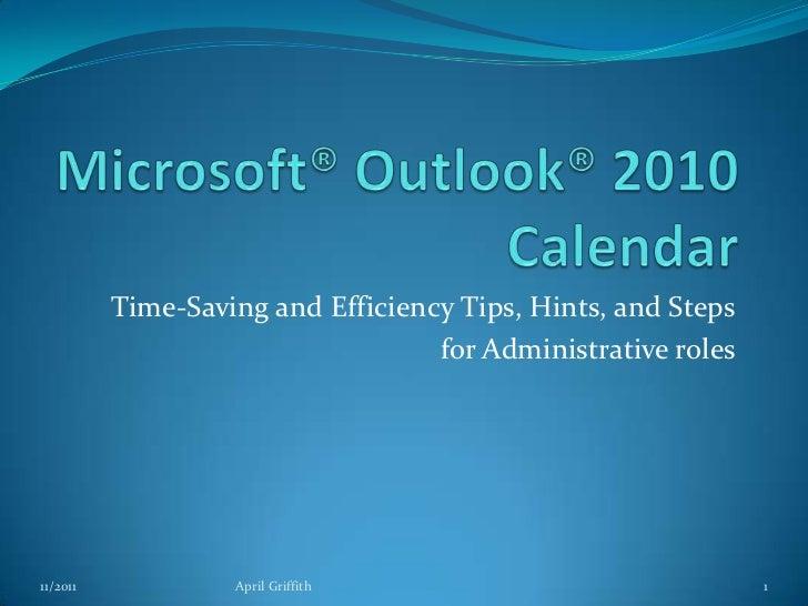 Outlook® Calendar Tips Hints For Admins