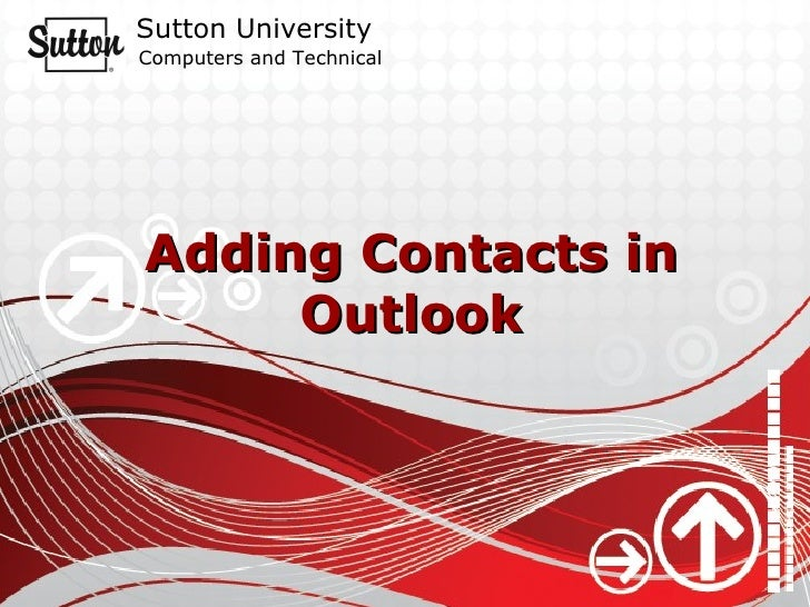 Adding Contacts in Outlook