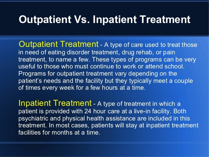 difference between inpatient and outpatient coding When guidelines depend on the setting: comparing, contrasting facility reporting  differences in guidelines between  outpatient service the coding.