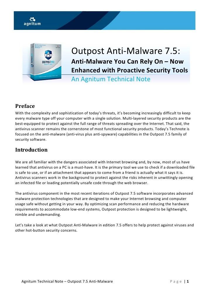 OutpostAnti‐Malware7.5:                     ...