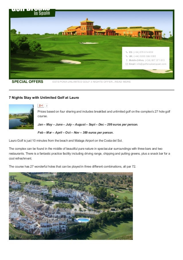 7 Nights Unlimited Golf At Lauro Golf Spain - From €299 Per Person