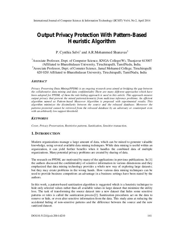 Output Privacy Protection With Pattern-Based Heuristic Algorithm