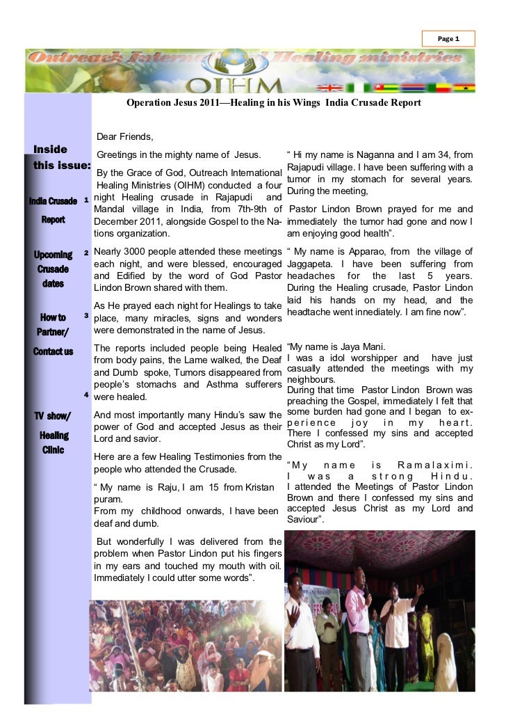 Page 1                        Operation Jesus 2011—Healing in his Wings India Crusade Report                 Dear Friends,...