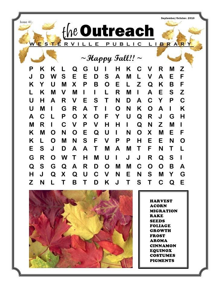 September/October. 2010Issue 41                   the Outreach      W E S T E R V I L L E        P U B L I C     L I B R A...