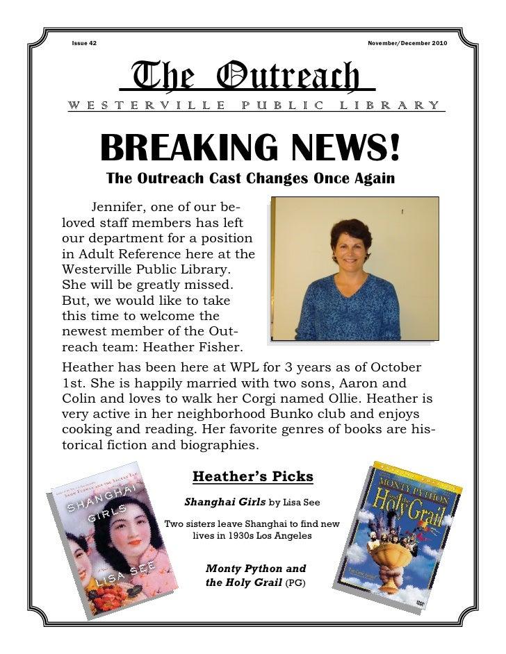 Issue 42                                                   November/December 2010              The OutreachW E S T E RV I ...