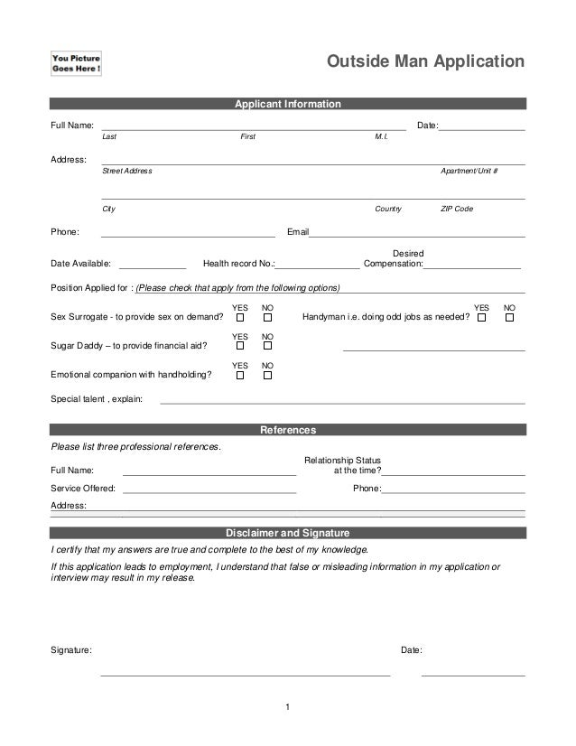 Outside Man Application Applicant Information Full Name:  Date: Last  First  M.I.  Address: Street Address  Apartment/Unit...