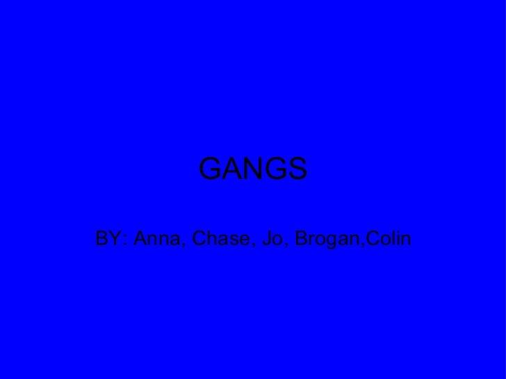 GANGS BY: Anna, Chase, Jo, Brogan,Colin