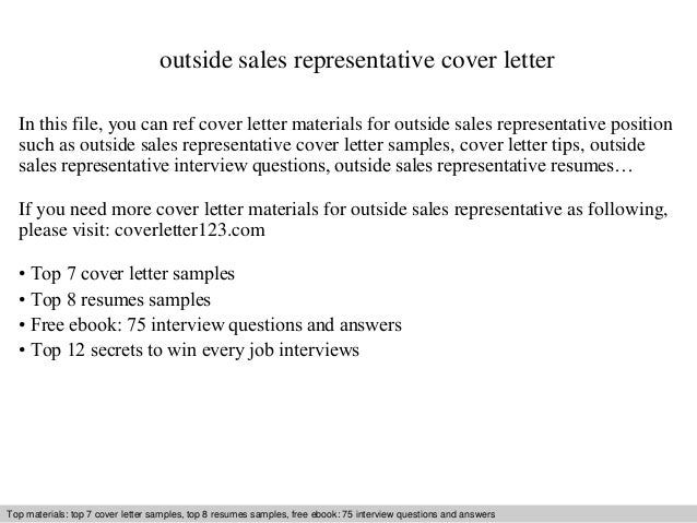 Outside Sales Cover Letter outside sales representative cover letter In this file, you can ref cover letter materials for ...