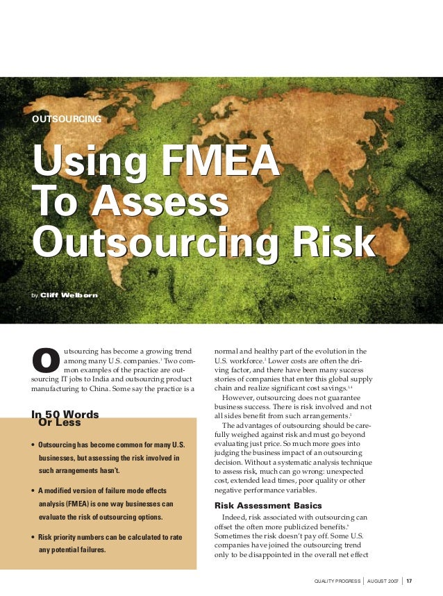 OUTSOURCINGUsing FMEATo AssessOutsourcing Riskby Cliff Welborn                                                     normal ...