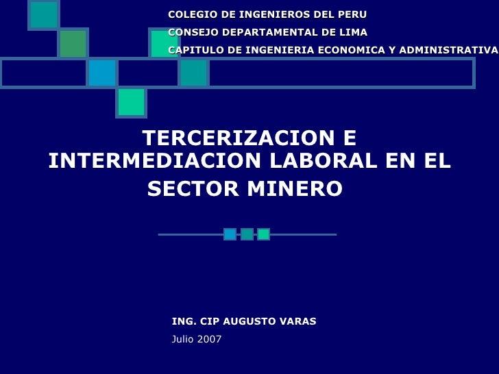 Outsourcing En El Sector Minero