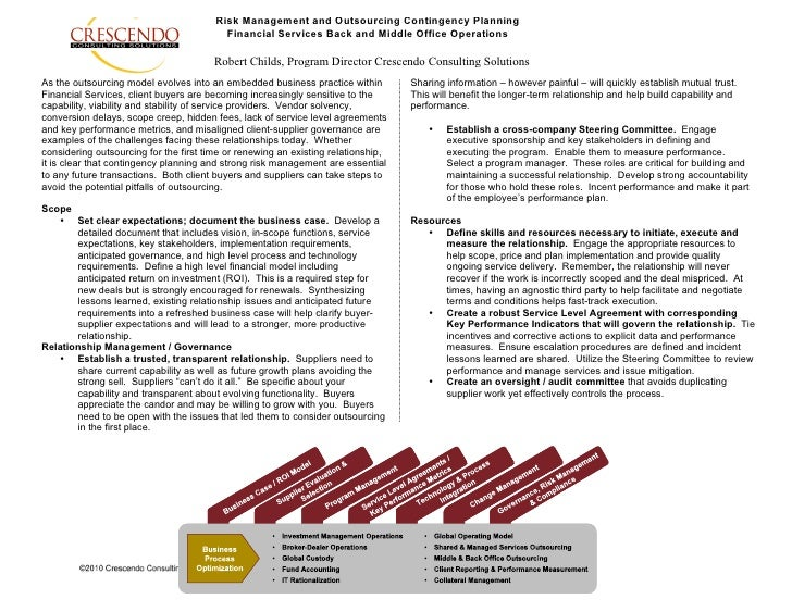 Risk Management and Outsourcing Contingency Planning                                           Financial Services Back and...