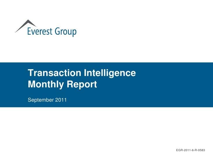 Transaction IntelligenceMonthly ReportSeptember 2011                           EGR-2011-6-R-0583