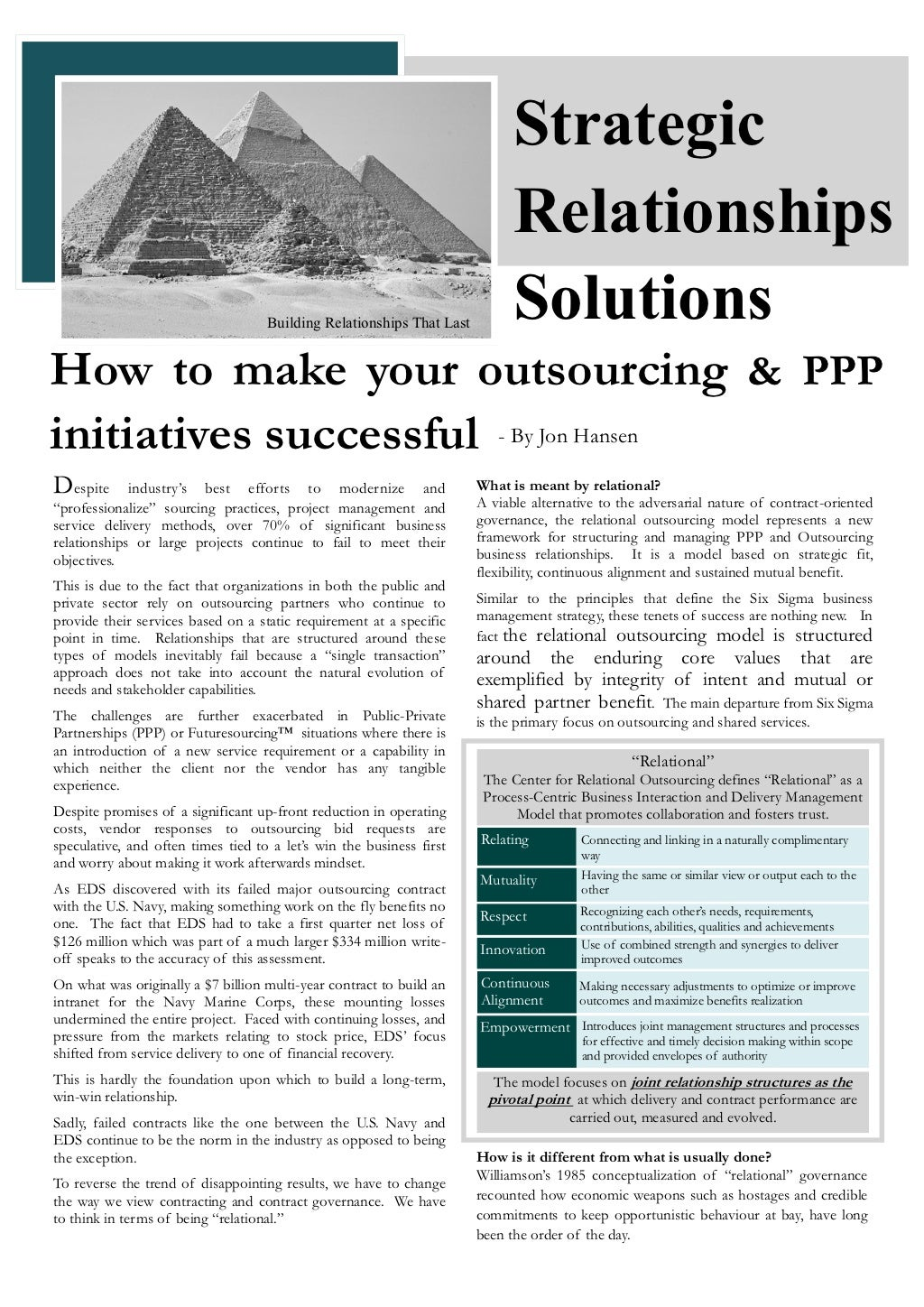 How To Make Your Outsourcing and PPP Initiatives Work